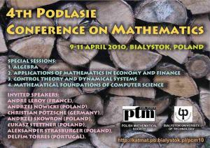 4th Podlasie Conference on Mathematics