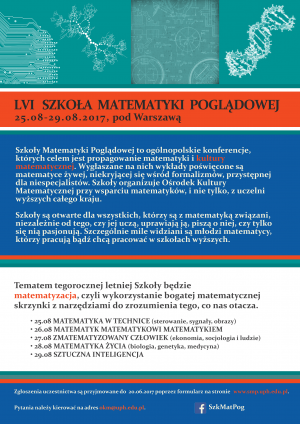 56. Szkoła Matematyki Poglądowej, 25-29 sierpnia 2017, w okolicach Warszawy