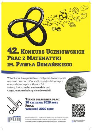 XLII Konkurs Uczniowskich Prac z Matematyki im. Pawła Domańskiego rozstrzygnięty