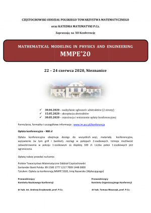 XII Conference on Mathematical Modelling in Physics and Engineering (MMPE '20)-ODWOŁANA