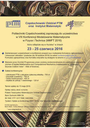 VIII Konferencja Modelowanie Matematyczne w Fizyce i Technice (MMFT 2016), 23-25 czerwca 2016, Hucisko