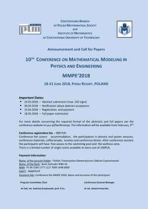 X Conference on Mathematical Modelling in Physics and Engineering (MMPE'2018)