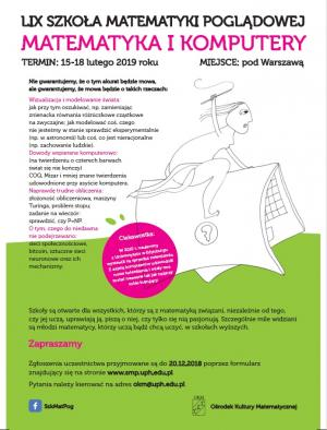 59. Szkoła Matematyki Poglądowej, 15-18 lutego 2019, Wola Ducka k/Warszawy