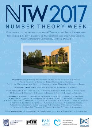Number Theory Week 2017, 4-8 września 2017, Poznań