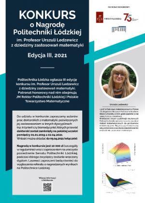 Konkurs o Nagrodę Politechniki Łódzkiej im. Profesor Urszuli Ledzewicz z dziedziny zastosowań matematyki, edycja III, 2021