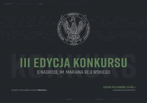 MON ogłasza III edycję konkursu o Nagrodę im. Mariana Rejewskiego