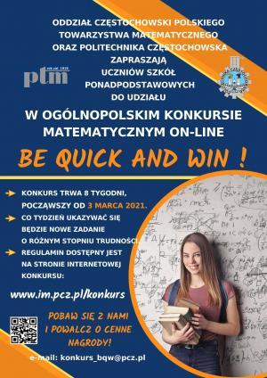 Ogólnopolski Internetowy Konkurs Matematyczny BE QUICK AND WIN !