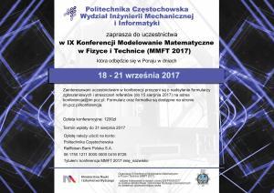 IX Konferencja Modelowanie Matematyczne w Fizyce i Technice (MMFT 2017)