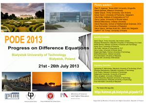 "Konferencja  ""Progress on Difference Equations (PODE 2013)"""