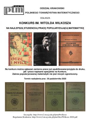II edycja Konkursu PTM im. Witolda Wilkosza na najlepszą studencką pracę popularyzującą matematykę ogłoszona